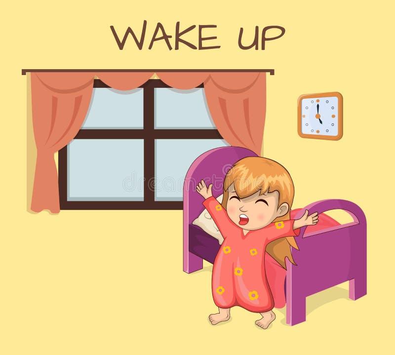Despierte el ejemplo soñoliento del vector de la muchacha del cartel libre illustration