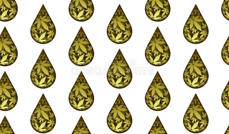 Desplome de aceite de cannabis sin fisuras, patrón vectorial foto de archivo libre de regalías