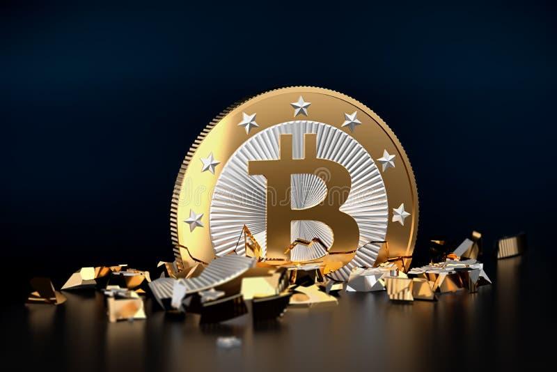 Desplome de Bitcoin, un Bitcoin quebrado stock de ilustración