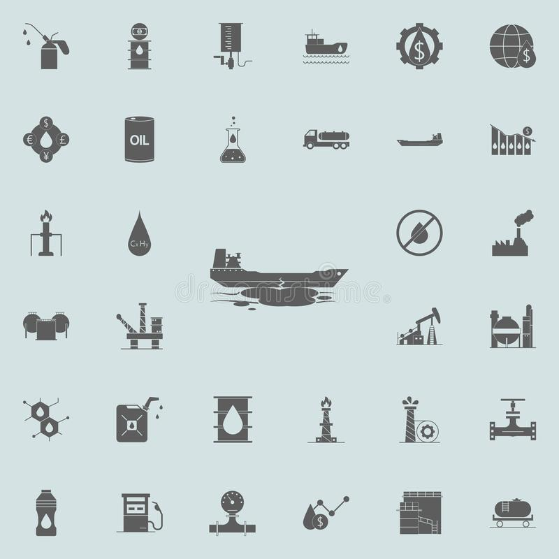 desplome de un icono del buque de petróleo Engrase el sistema universal de los iconos para el web y el móvil ilustración del vector