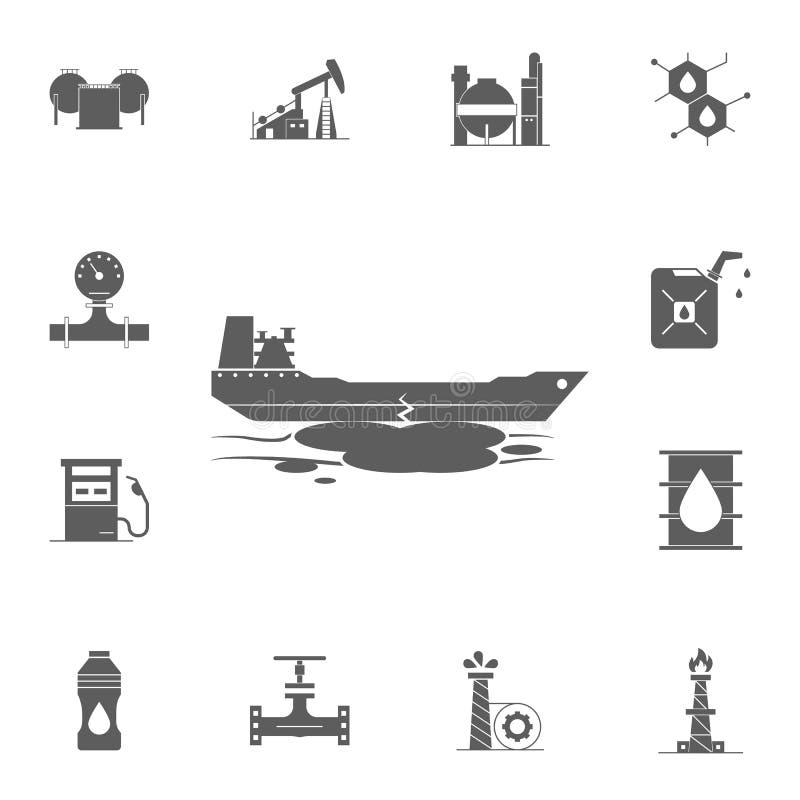 desplome de un icono del buque de petróleo Sistema detallado de iconos del aceite Muestra superior del diseño gráfico de la calid ilustración del vector