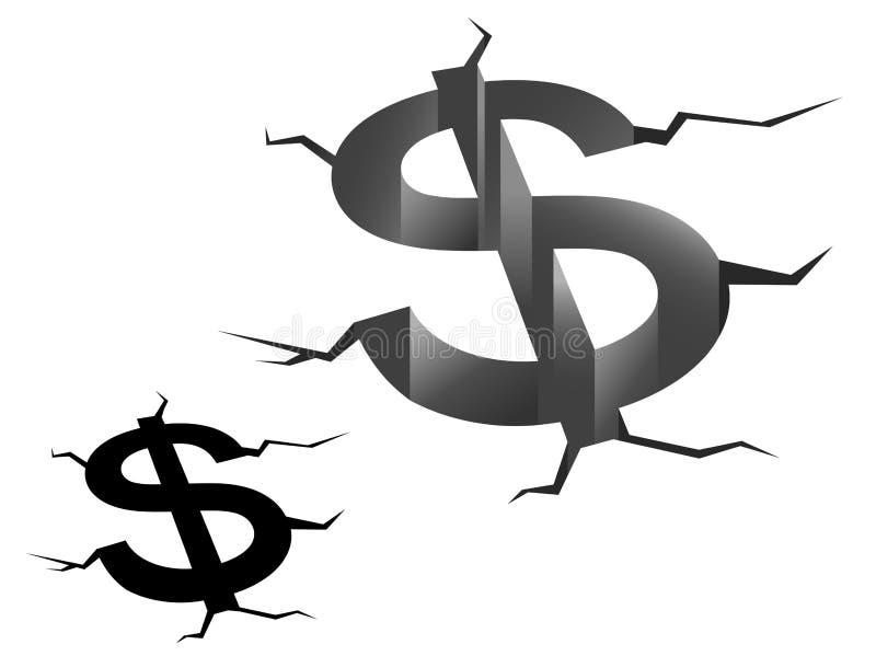 Desplome del dólar americano stock de ilustración