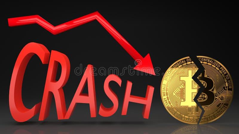 Desplome del precio de la burbuja de Bitcoin, gráfico del valor que va abajo ilustración del vector