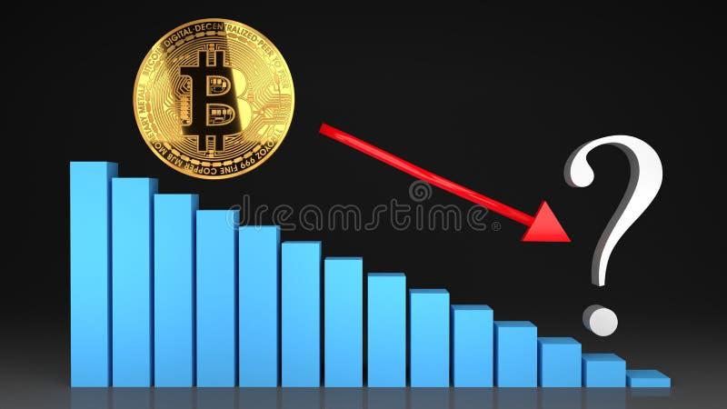 Desplome del precio de la burbuja de Bitcoin, valor que va abajo stock de ilustración