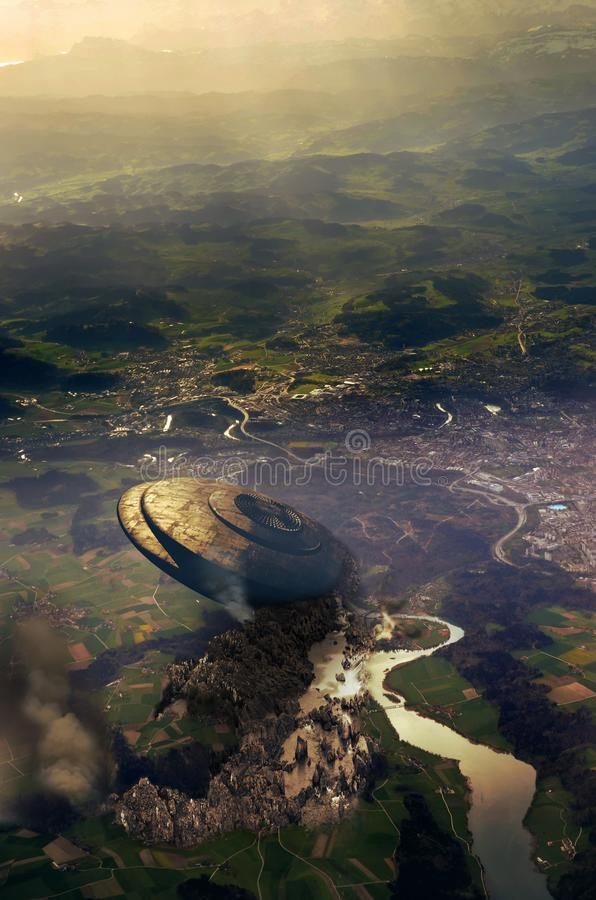 Desplome del UFO en tierras suizas stock de ilustración