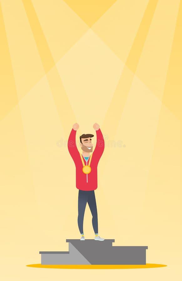 Desportista caucasiano que comemora no pódio dos vencedores ilustração royalty free