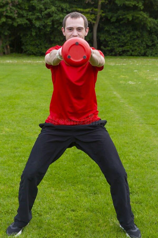 Desportista com Kettlebell foto de stock