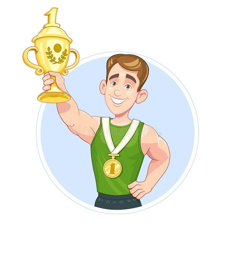 Desportista do vencedor com vetor do copo e da medalha ilustração royalty free