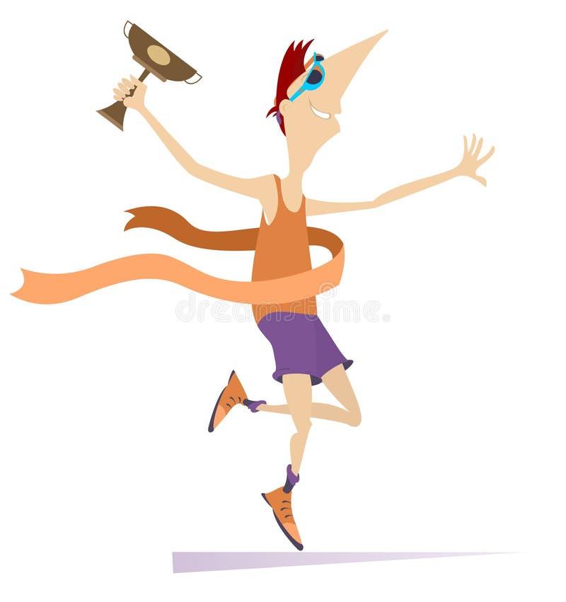 Desportista dos desenhos animados um vencedor isolado na ilustração branca ilustração stock