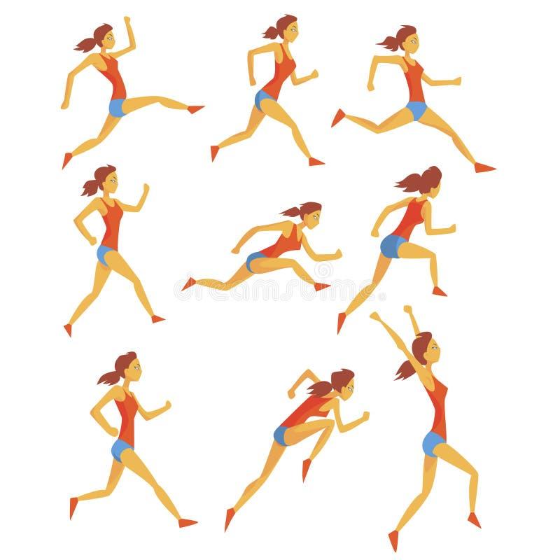Desportista fêmea que corre a trilha com obstáculos e obstáculos na parte superior vermelha e curto azul em competir o grupo da c ilustração do vetor