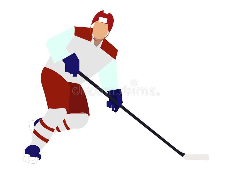 Desportista isolado, jogador de hóquei em um fundo branco No vetor liso dos desenhos animados minimalistas do estilo ilustração royalty free