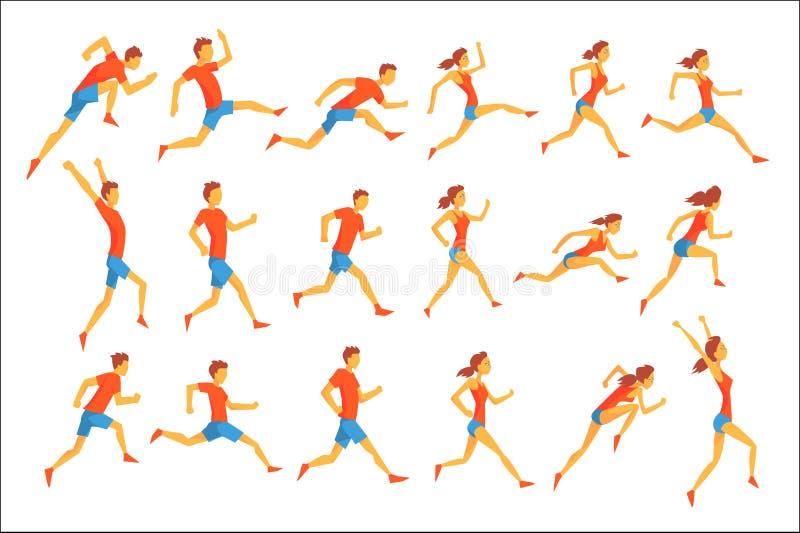 Desportista masculino que corre a trilha com obstáculos e obstáculos no azul superior vermelho curto em competir a competição aju ilustração do vetor