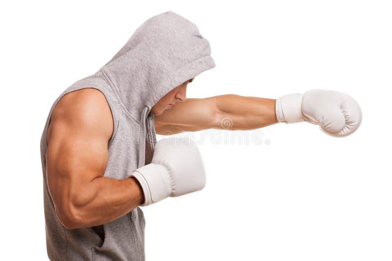 Desportista muscular atlético no estúdio isolado fotografia de stock royalty free
