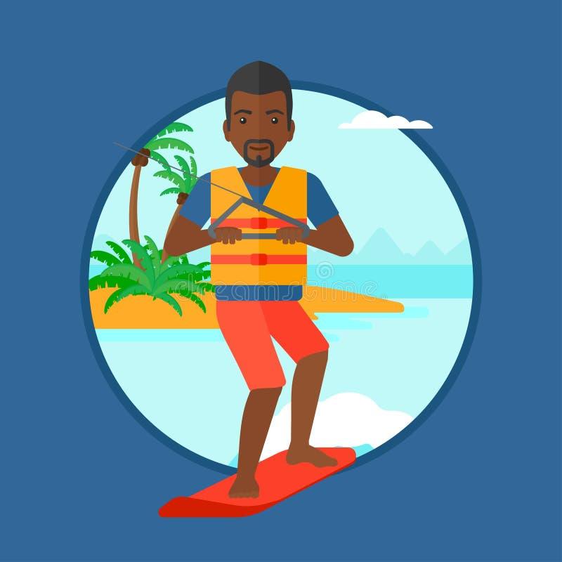 Desportista profissional do wakeboard ilustração do vetor