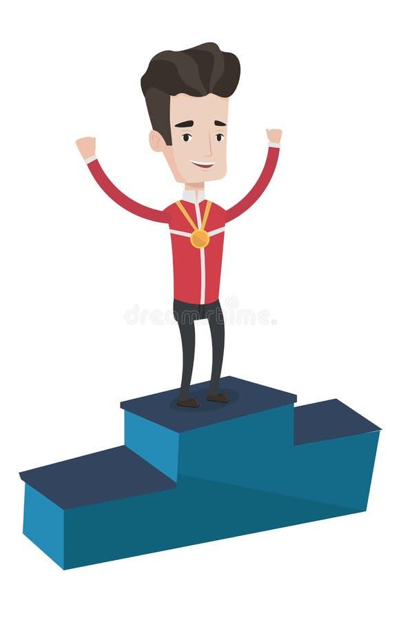 Desportista que comemora no pódio dos vencedores ilustração do vetor