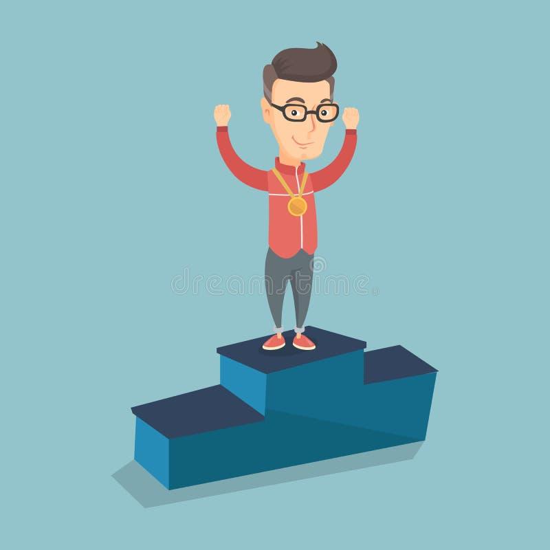 Desportista que comemora no pódio dos vencedores ilustração royalty free