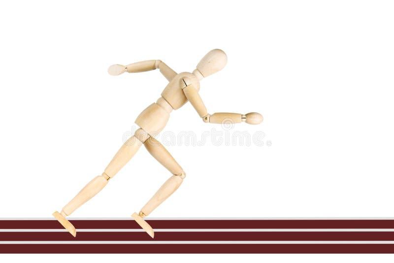 Desportista que corre nas trilhas isoladas sobre o fundo branco imagem de stock