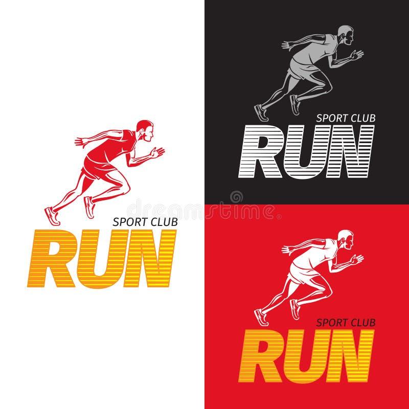 Desportista running no fundo diferente Clube de esporte ilustração stock