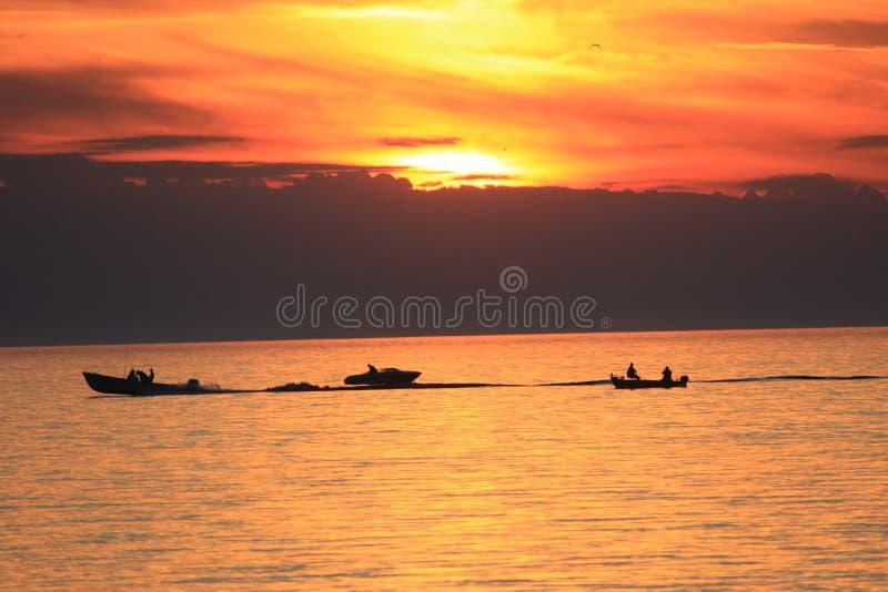 Desporto de barco no por do sol