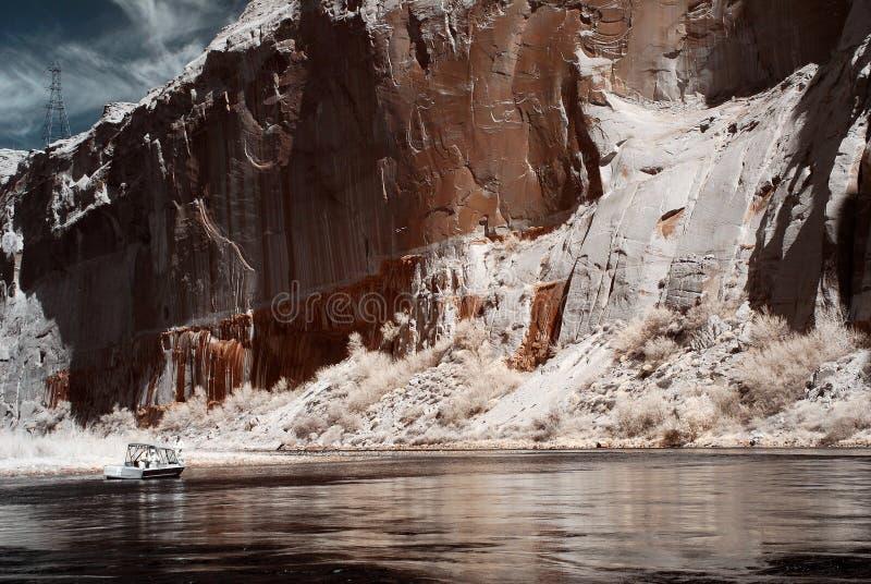 Desporto de barco no rio de Colorado fotografia de stock