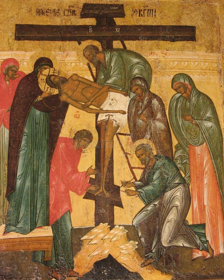 ?desposition [de Jesús]? del icono ruso cruzado imágenes de archivo libres de regalías