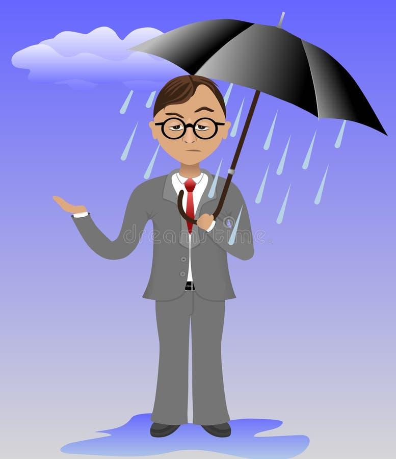 Despressed Geschäftsmann, der einen Regenschirm anhält stockfotografie