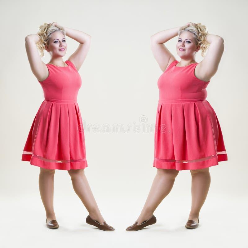 Después antes de concepto del peso de la pérdida, de modelo de moda feliz del tamaño extra grande, de mujer gorda y delgada atrac imágenes de archivo libres de regalías