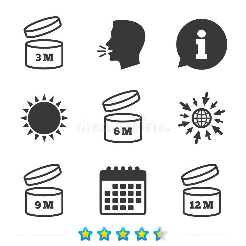 Después de abrir iconos del uso Producto de la fecha de caducidad stock de ilustración