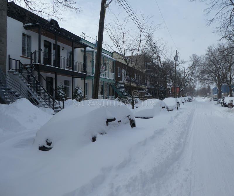 Después de la tormenta de la nieve en Montreal fotos de archivo