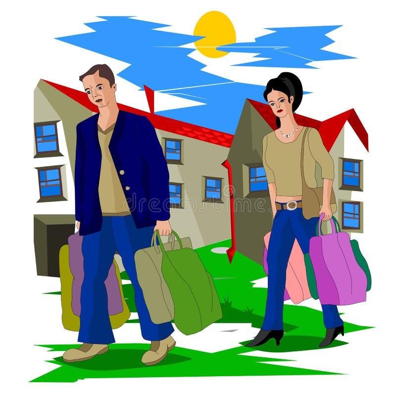 Después de que vayan a casa un trabajo, un marido y una esposa del ` s del día duro con los paquetes pesados libre illustration