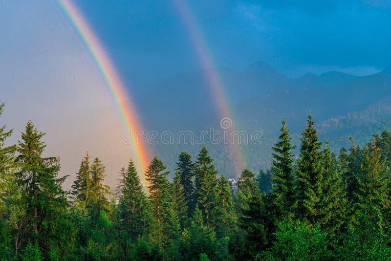 después de una lluvia dos arco iris sobre una madera imagen de archivo