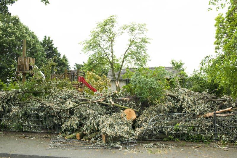 Después del huracán - patio cerrado foto de archivo