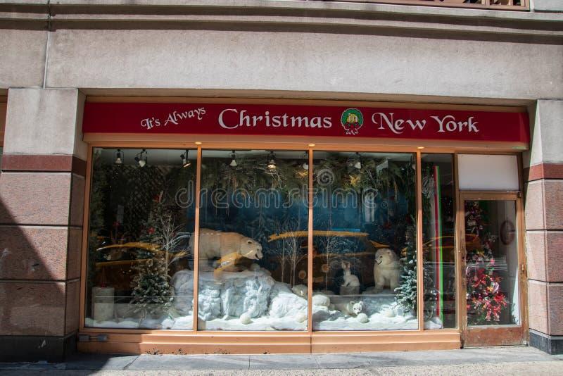 Dess alltid fönster för julNew York lager fotografering för bildbyråer