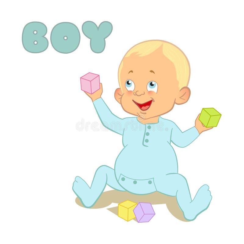 Dess baby shower en pojke stock illustrationer