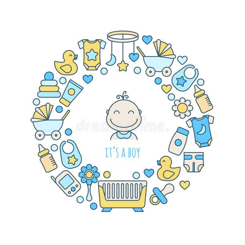 Dess en design för pojkehälsningkort Vektorn behandla som ett barn linjen konstsymboler ställde in i cirkelform Barnkammare- och  stock illustrationer