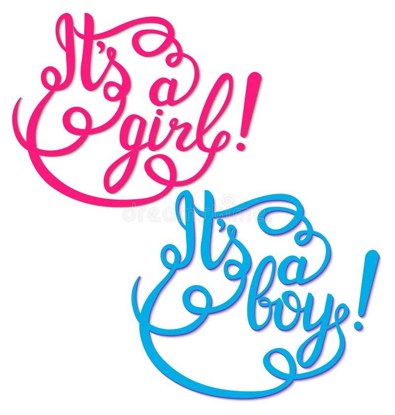 Dess en flicka, pojkebokstäver Baby showerinbjudan vektor illustrationer