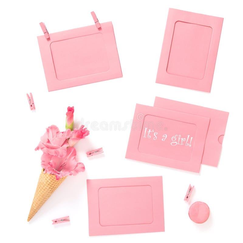 Dess en lekmanna- för kortblommor för flicka rosa lägenhet för baby shower arkivfoton