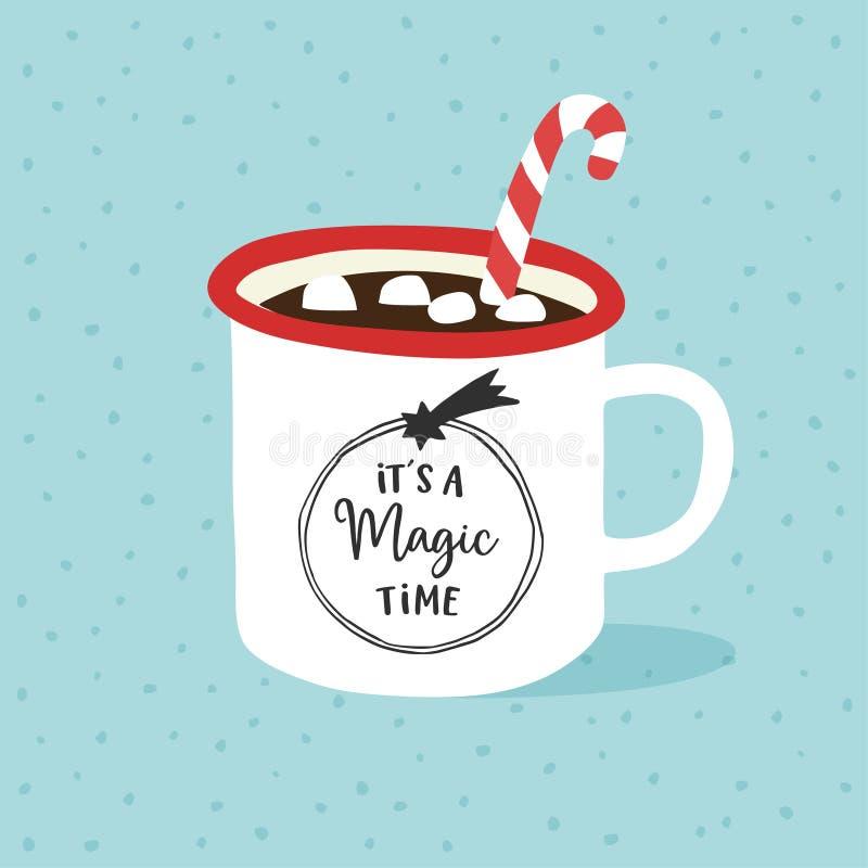 Dess en magisk tid Jul hälsningkort för nytt år, inbjudan Utdragen kopp för hand av varm choklad eller kaffe med stock illustrationer