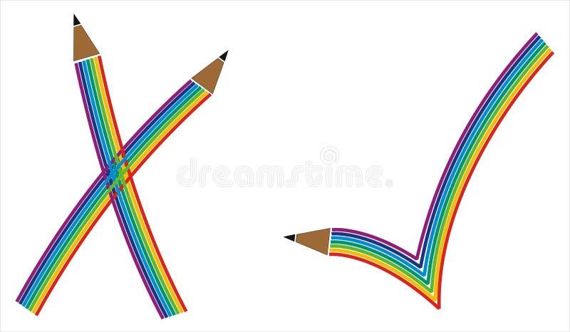 Kontrollen markerar i regnbåge mönstrar stock illustrationer