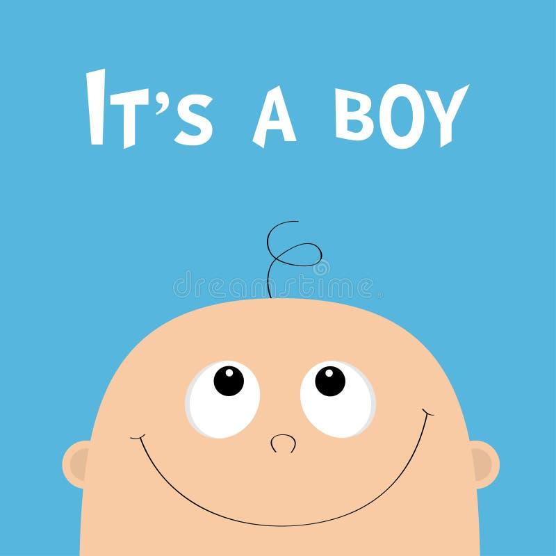 dess pojke Baby showerhälsningkort Ungeframsida som ser upp Gulligt tecknad filmtecken Roligt huvud med hår, ögon, näsa som ler m royaltyfri illustrationer