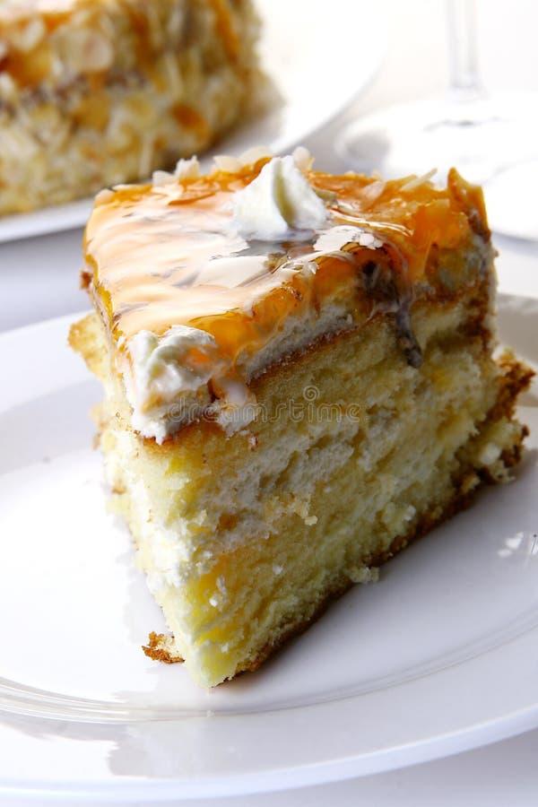 Desserfruchtkuchen mit weißer Schokolade lizenzfreies stockbild