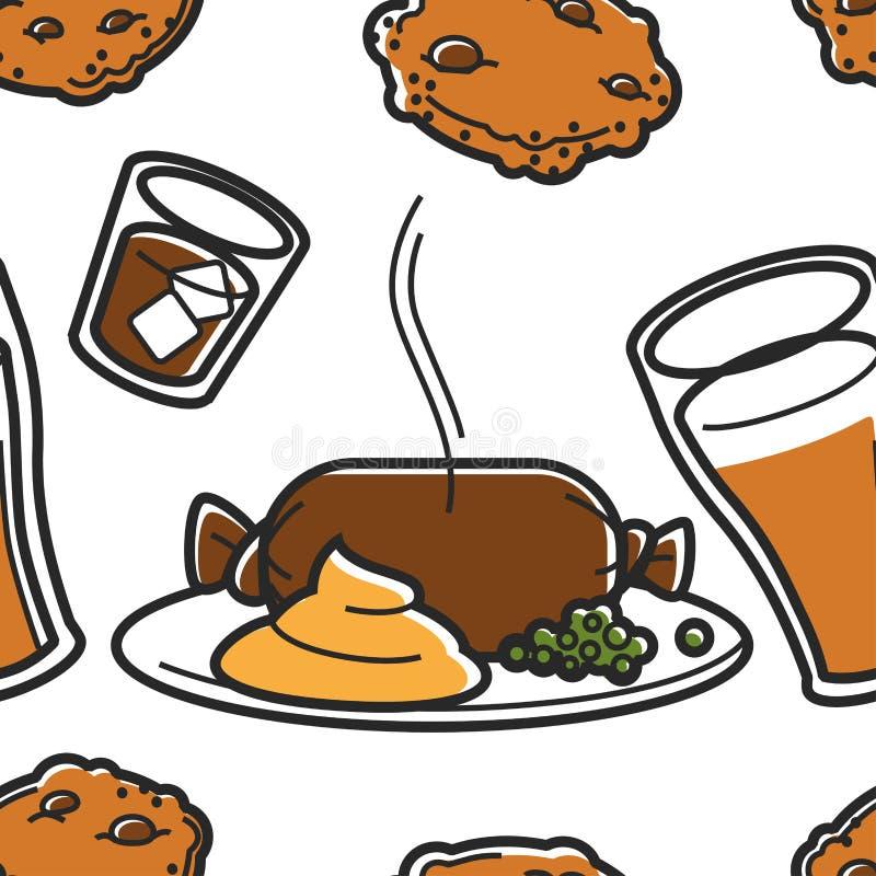 Dessert ?cossais et boissons traditionnels de repas de cuisine et de nourriture illustration libre de droits