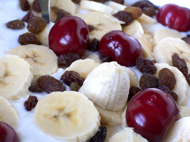 Dessert. Cherries,currant,banana and yogurt dessert stock photo