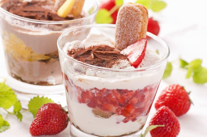 Dessert. Tiramisu dessert with fresh strawberries stock photo