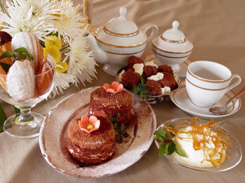Dessert. And tea royalty free stock image
