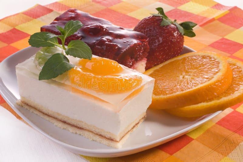 Dessert. A dessert garnished with fresh strawberries at a sidewalk cafe stock photo