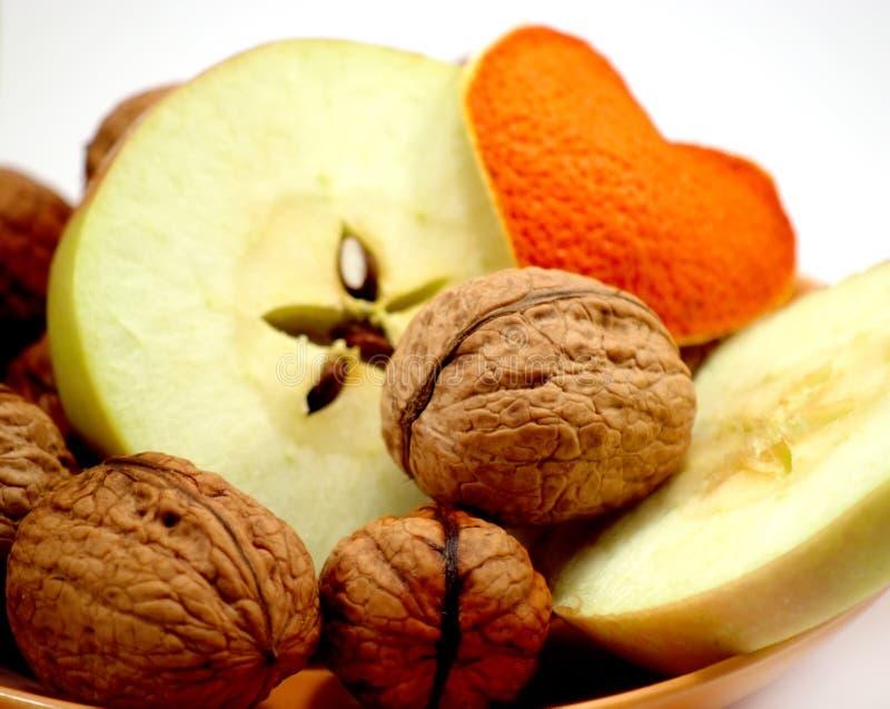 Download Dessert stock photo. Image of apples, macro, heart, walnuts - 8547836