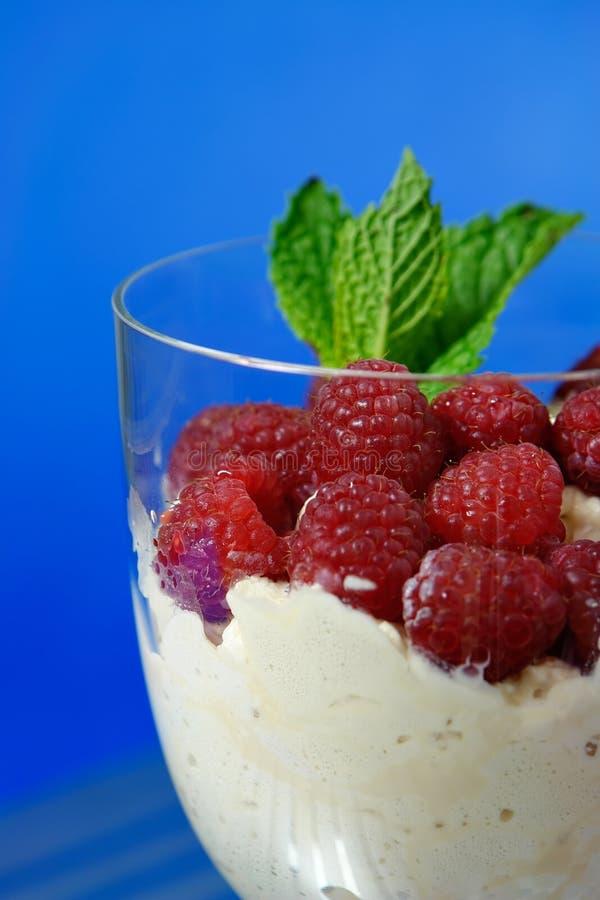 Dessert. Raspberrys with whipped cream dessert stock photos