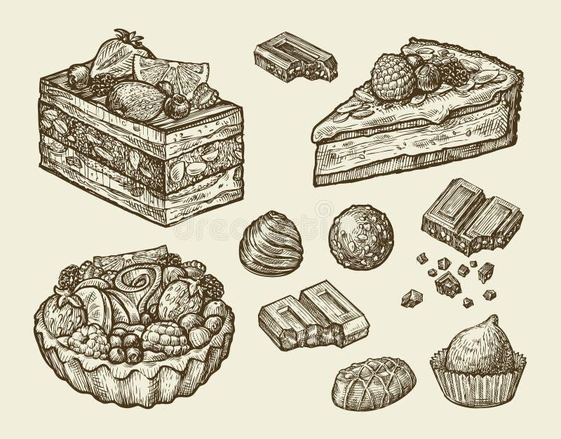 Dessert, alimento dolce disegnato a mano, pasticceria, cioccolato, torta, caramella, dolce Illustrazione di vettore di schizzo illustrazione vettoriale