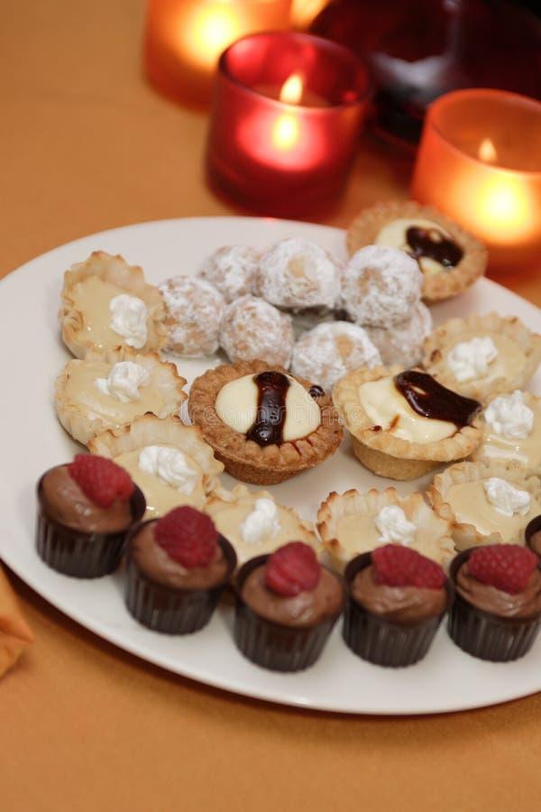 Dessert assortment stock images
